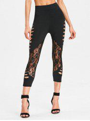 Cropped Lace Panel Cut Out Pants -
