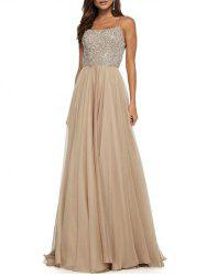 Sequined Cross Backless Long Party Dress -