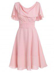 Flounce Draped A Line Dress -