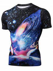 Space Pattern Leisure Short Sleeves T-shirt -