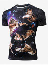 Cat Pattern Leisure Short Sleeves T-shirt -