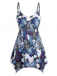 Plus Size Cut Out Printed Skirted Tankini Set -