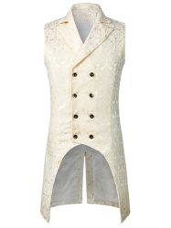 Double Button Decoration Printed Waistcoat -
