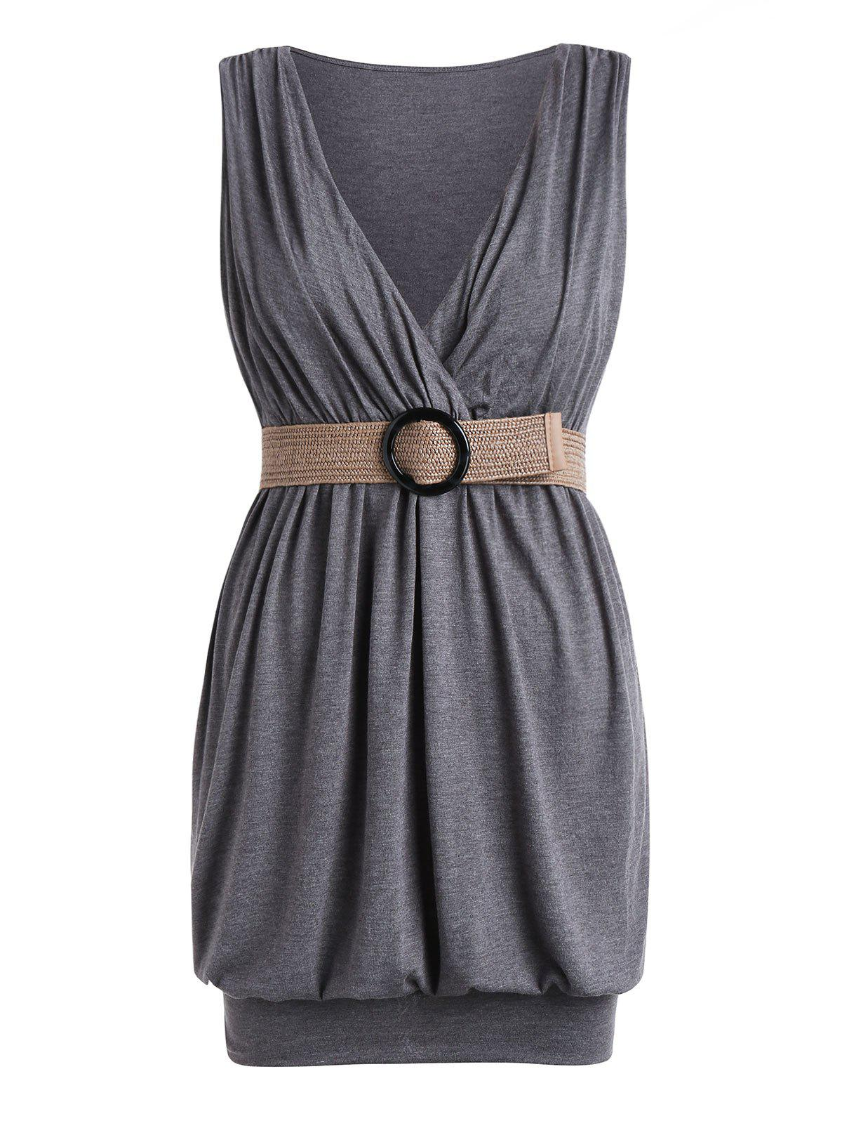 Plus Size Plunge Belted Mini Blouson Dress