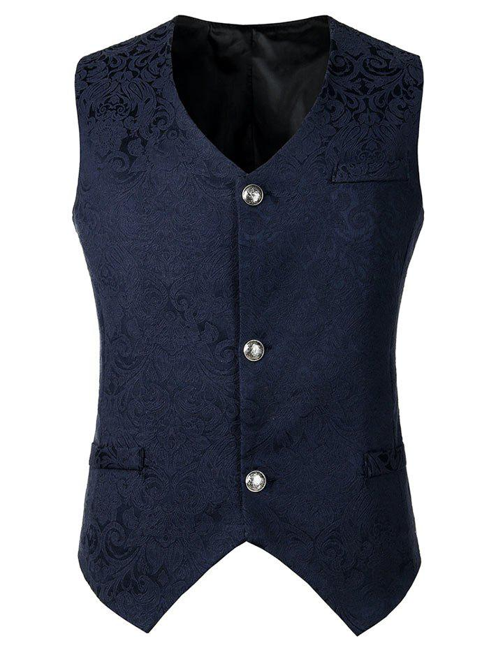 Outfit Floral Design Button Waistcoat