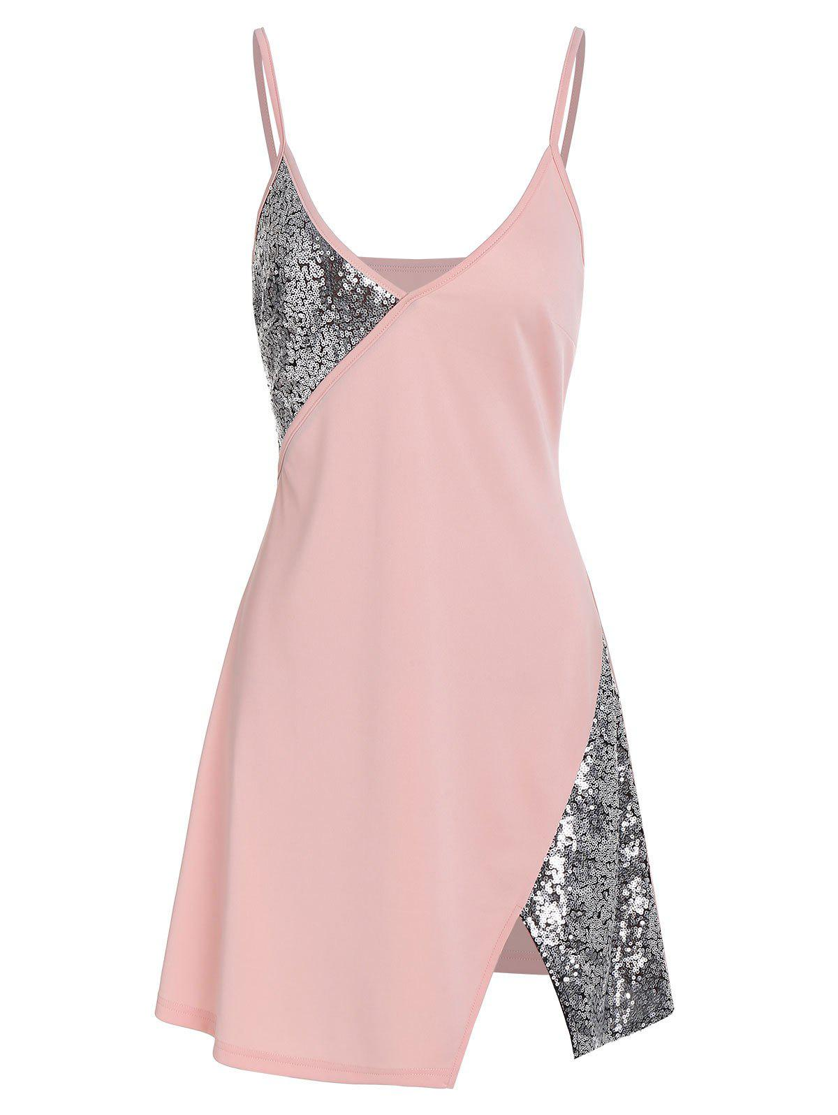 Chic Cami Slit Sequined Dress