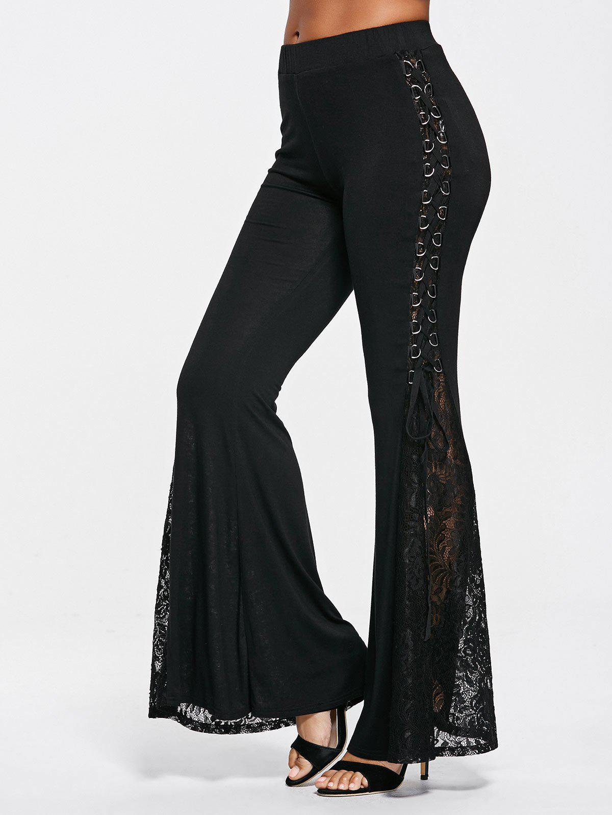 Fancy Lace Panel Flare Elastic Waist Pants