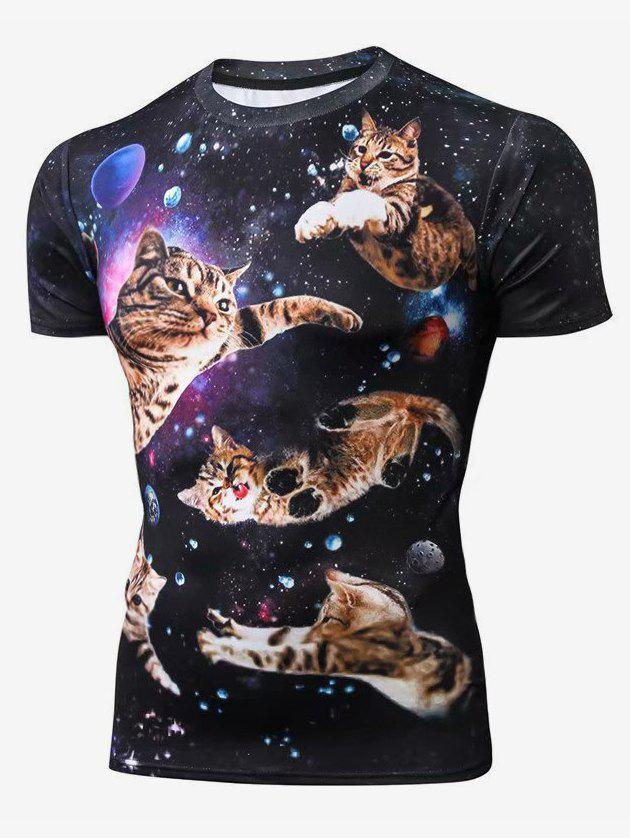 Sale Cat Pattern Leisure Short Sleeves T-shirt