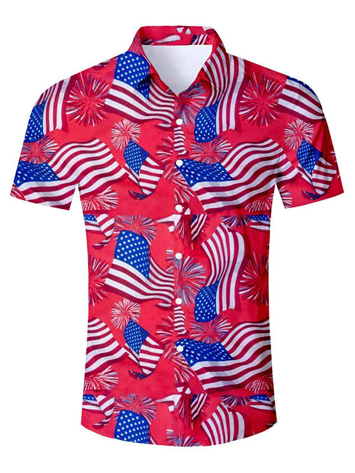 Online American Flag Pattern Casual Shirt