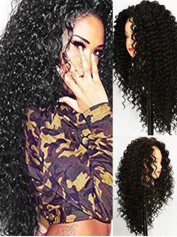 Long Synthetic Jerry Curl Free Part Wig with Lace Front