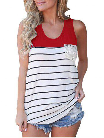 Stripes Crochet Panel Front Pocket Tank Top