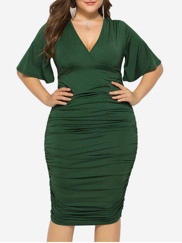 Plus Size Plunge Ruched Bodycon Dress