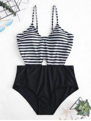 Cut Out Plus Size Striped Panel One-piece Swimsuit -