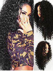 Long Synthetic Jerry Curl Free Part Wig with Lace Front -