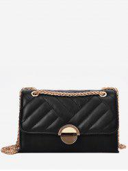 Round Buckle Quilted Crossbody Bag -