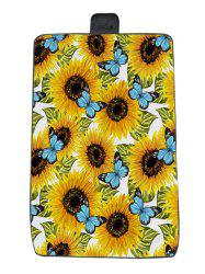 Sunflower Butterfly Print Waterproof Picnic Blanket -