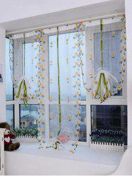 Lifting Roll Up Embroidery Flower Print Window Screening -