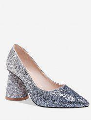 Sequins Decoration Chunky Heel Pumps -
