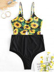Sunflower Print Plus Size Cut Out Swimwear -