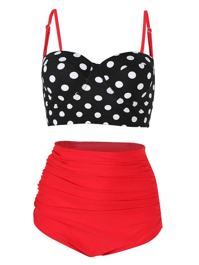 Outfits High Waist Polka Dot Underwire Bikini Set