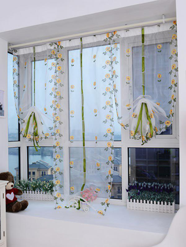 Cheap Lifting Roll Up Embroidery Flower Print Window Screening