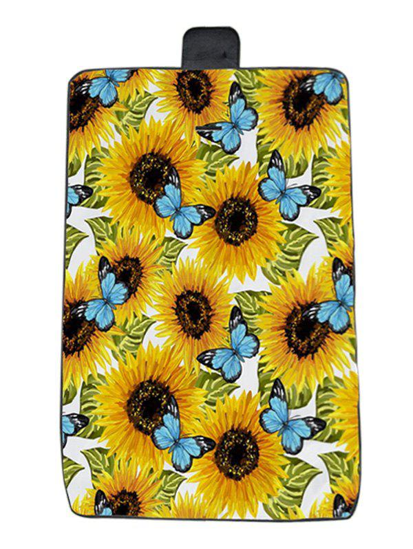 Online Sunflower Butterfly Print Waterproof Picnic Blanket