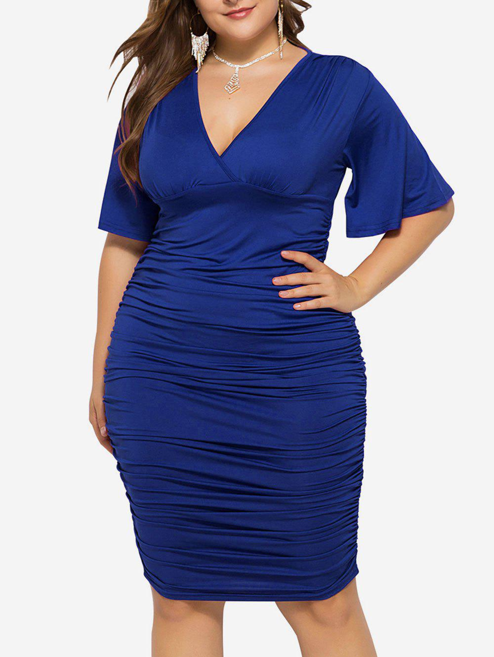 Hot Plus Size Plunge Ruched Bodycon Dress
