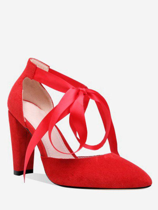 Fashion Lace-up Design Chunky Heel Pumps