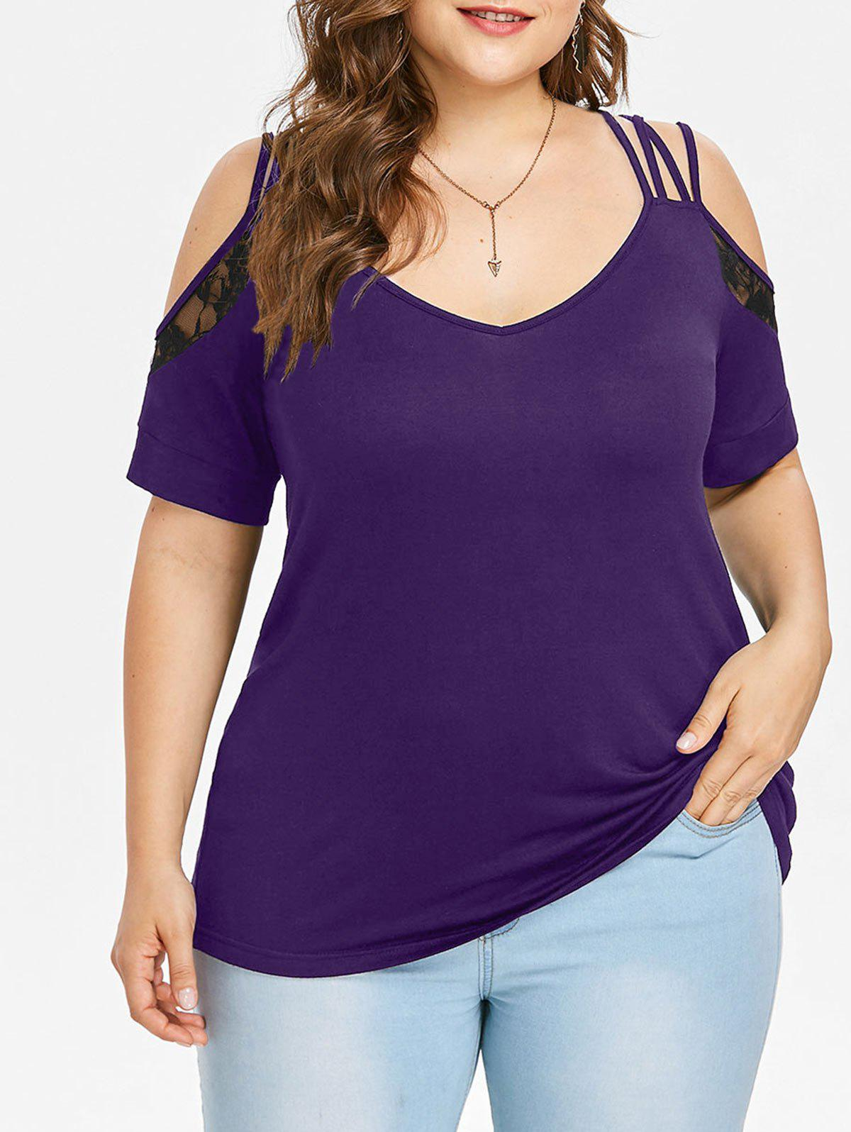 Latest Plus Size Cold Shoulder Lace Insert T-shirt