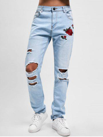 Flowers Embroidery Ripped Hole Jeans