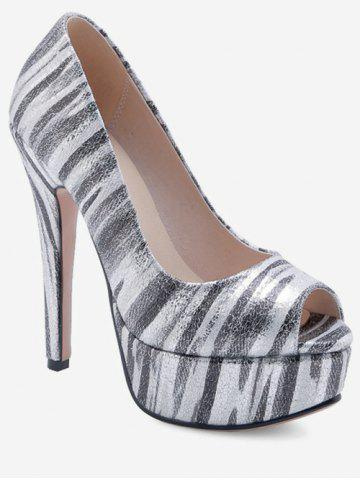 37ebf31161a12f Peep Toe Zebra-stripe Pattern Pumps
