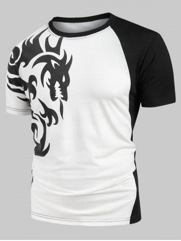 Color Spliced Design Casual T-shirt