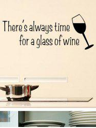 Wine Glass Letter Print Wall Stickers -