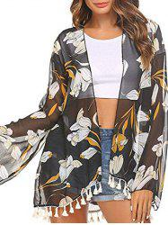 Open Front Floral Print Tassel Cover Up -