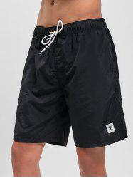 Appliques Solid Color Drawstring Board Shorts -