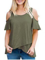 Short Sleeve Ruffle Cold Shoulder Tee -