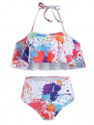 Paint Splatter Ruffle Bikini Set -