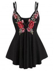 Plus Size Embroidered Cami Plunge Tank Top -