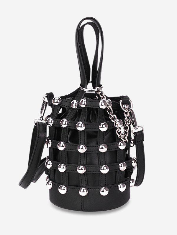 Discount Rivet Decorated Bucket Drawstring Shoulder Bag