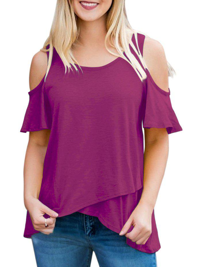 Affordable Short Sleeve Ruffle Cold Shoulder Tee
