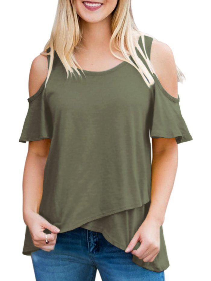 New Short Sleeve Ruffle Cold Shoulder Tee