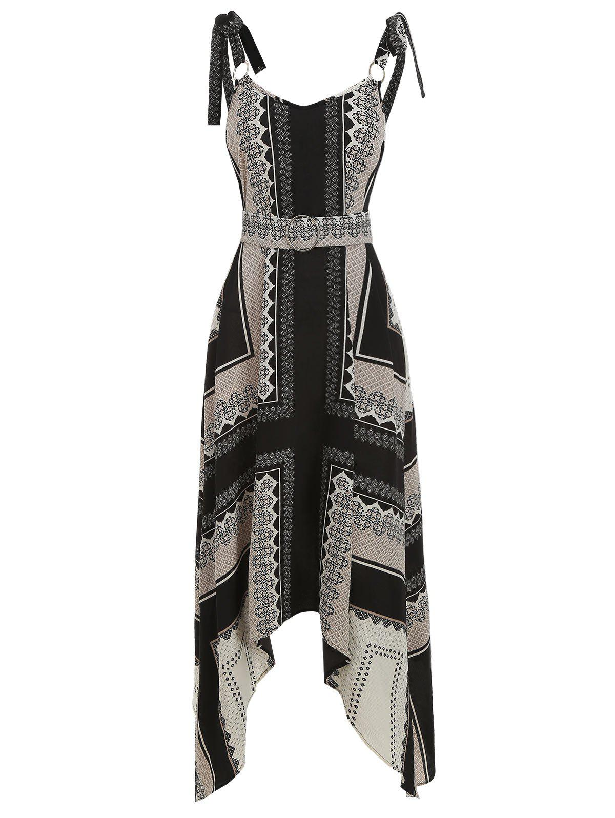 High Waist Asymmetrical Printed Dress
