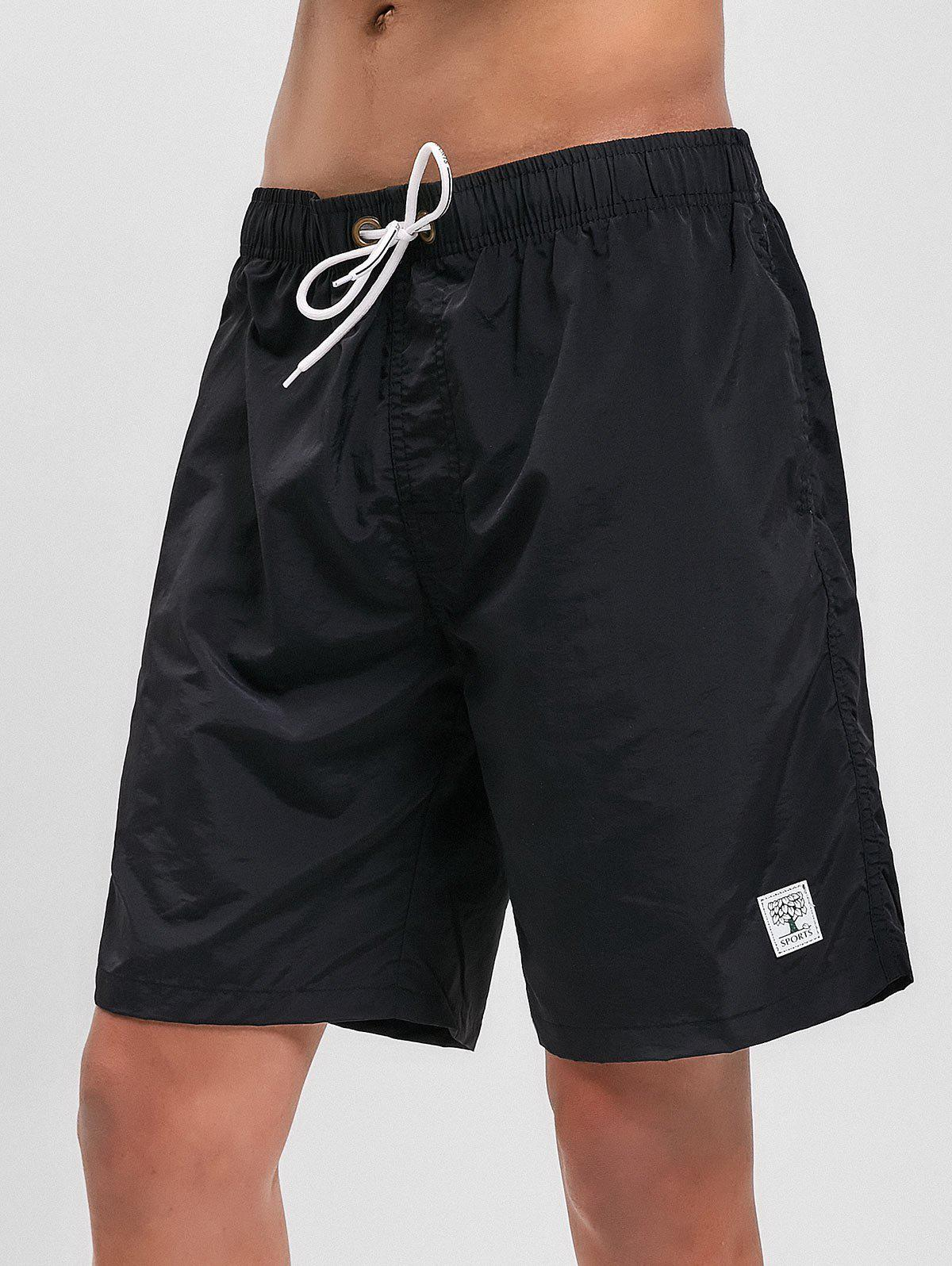 Affordable Appliques Solid Color Drawstring Board Shorts
