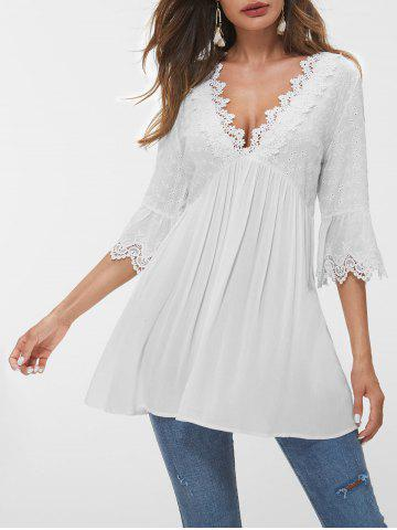 Flare Sleeve Lace Panel Eyelet Blouse