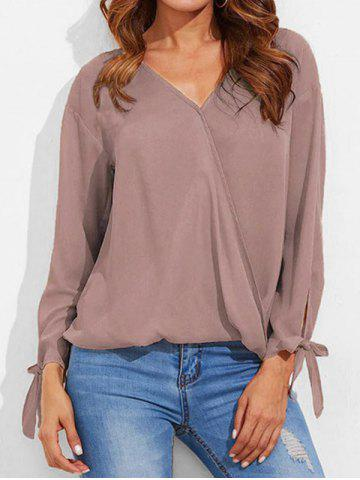 Knotted Sleeve High Low Surplice Blouse
