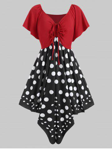 Ruched Polka Dot Plus Size Handkerchief Dress