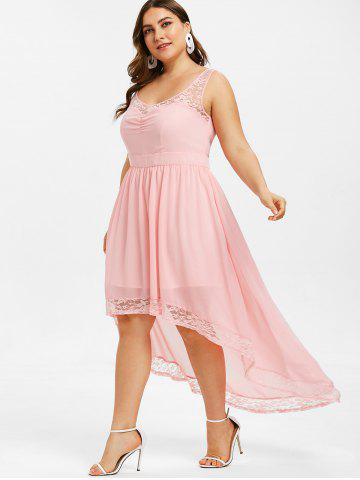High Low Lace Panel Plus Size Dress