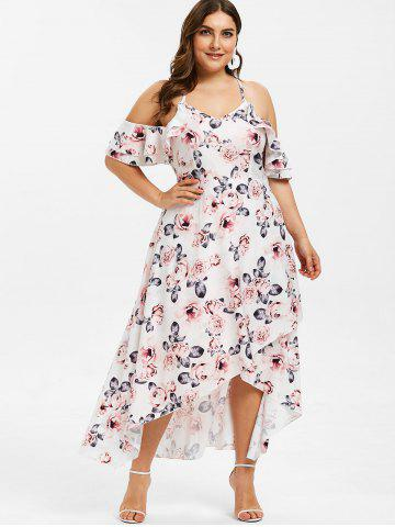 3542eca294 Floral Print Plus Size Ruffle Trim Asymmetrical Dress