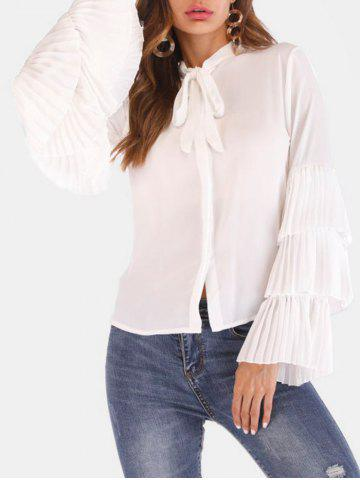 Bow Tie Neck Pleated Flare Sleeve Shirt