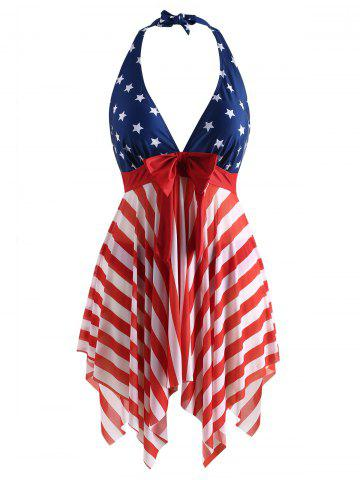 a4818c3624d23 Halter Neck American Flag Plus Size Tankini Set